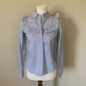 H&M Blue Ruffle Dotted Button Down